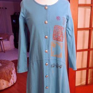Vintage Blue Cactus Maxi Dress -PXS